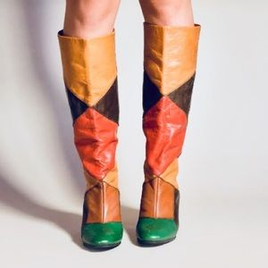 80s Mod Boots Leather Color Block Knee Heels 9